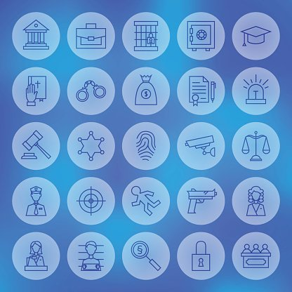 Line Circle Law and Justice Icons Set
