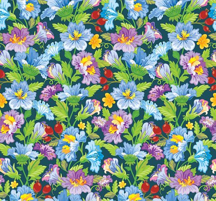 Seamless flower pattern in blue and purple shades