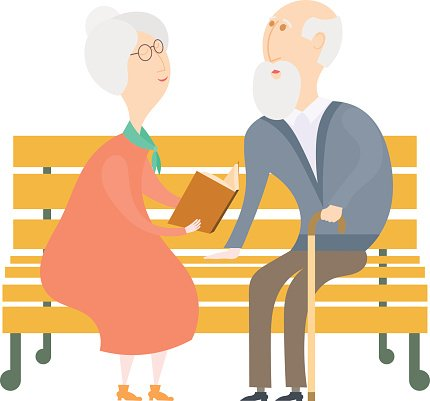 The Old Man And Woman On Bench Reading Vector Premium Clipart