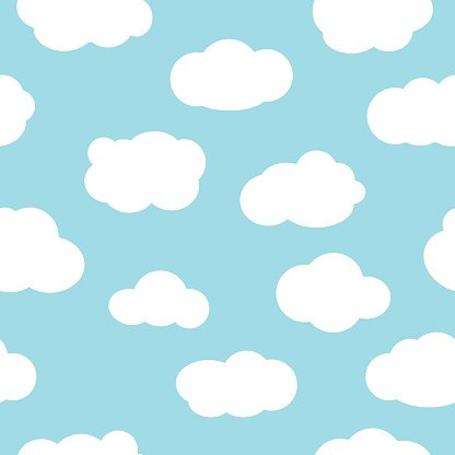 Blue Sky With Clouds Seamless Pattern Vector premium clipart