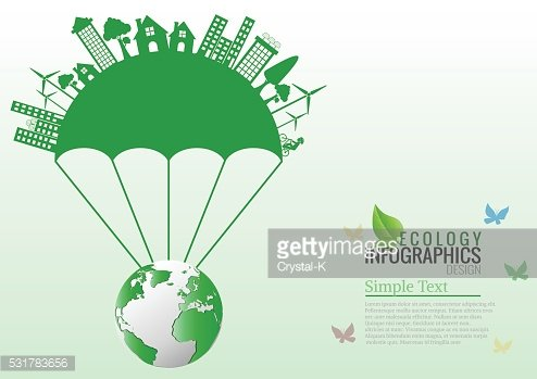Ecology connection parachute concept background . Vector