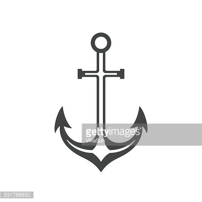 Anchor Isolated on white background vector icon in retro style