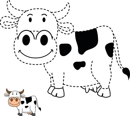 Illustration Of Educational Game For Kids And Coloring Book Cow