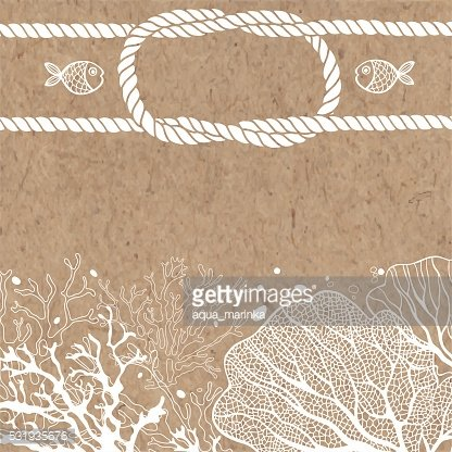 Marine monochrome background with space for text on kraft paper.