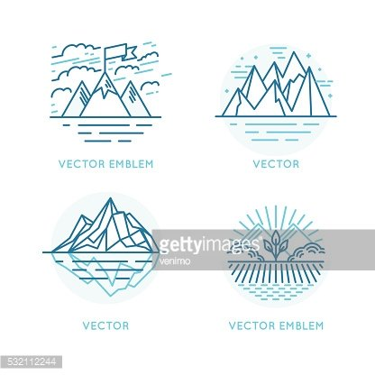 Vector set of logo design template in trendy linear style