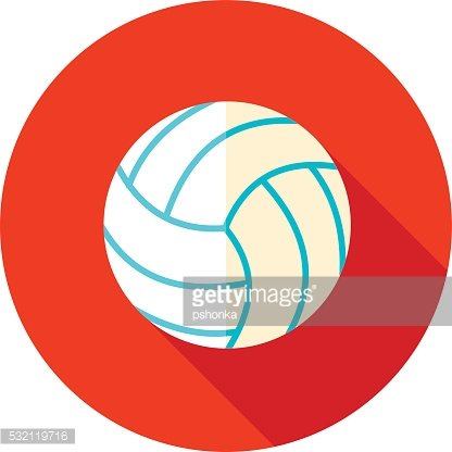 Volleyball flat icon with long shadow