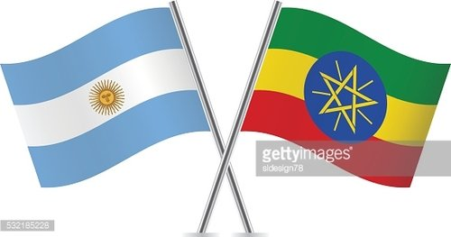 Argentinian and Ethiopian flags. Vector.