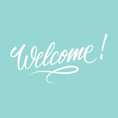 Welcome inscription. Hand drawn lettering.