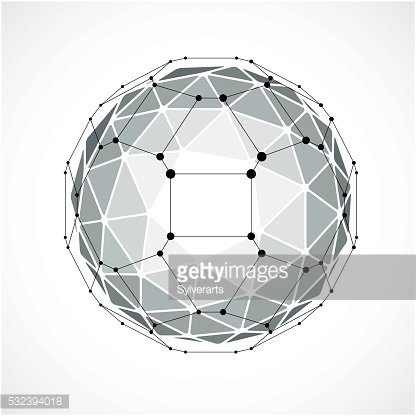 3d vector digital wireframe spherical object made using triangles