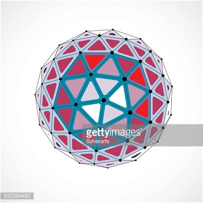 Vector dimensional wireframe low poly object, colorful sphere