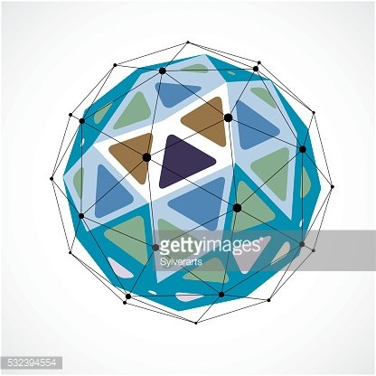 Perspective technology shape with black lines and dots connected