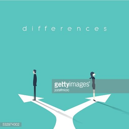 Business concept illustration of gender differences between businesswoman and businessman