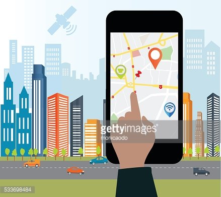 Concept of holding smart-phone with mobile navigation.