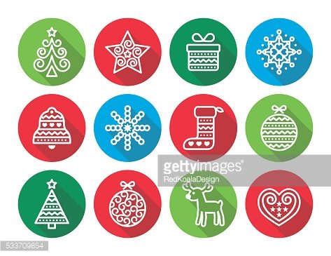 Christmas flat icons icons - Xmas tree, present, reindeer
