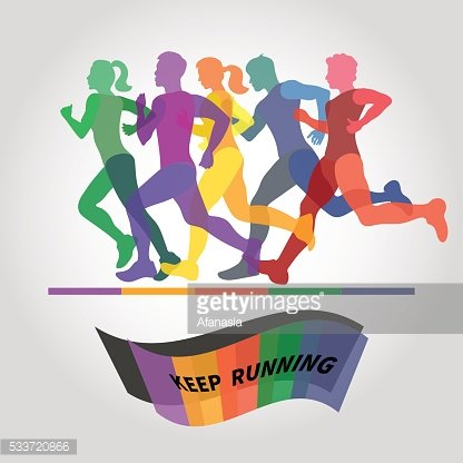 Running people. Colorful vector illustration