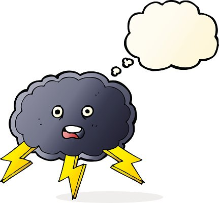 cartoon cloud and lightning bolt symbol with thought bubble