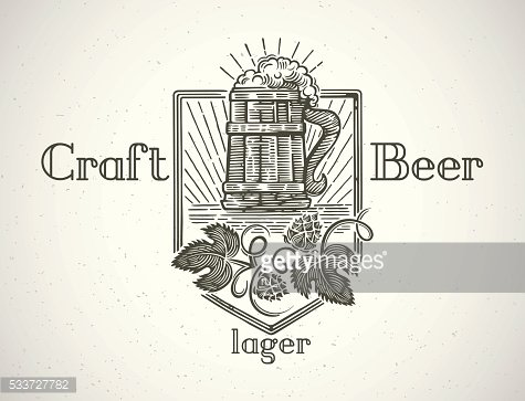 Mug of beer in graphic style.