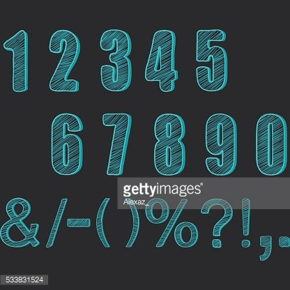 Chalkboard Numbers collections.Chalk Numbers Calligraphy,Font Element.