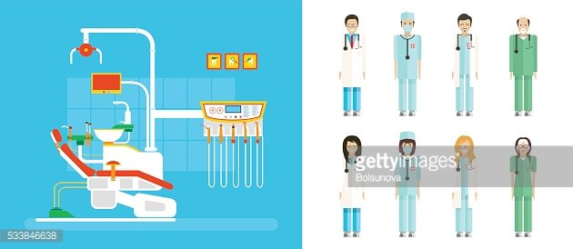 set of dental office with dentist chair, medical staff in