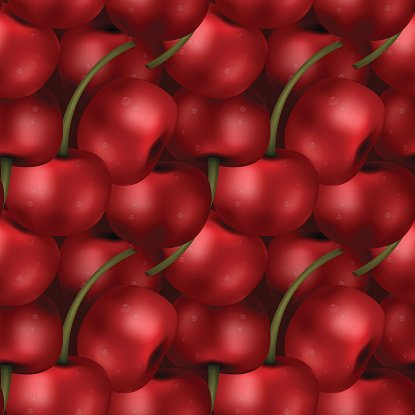 Seamless picked up cherries pattern