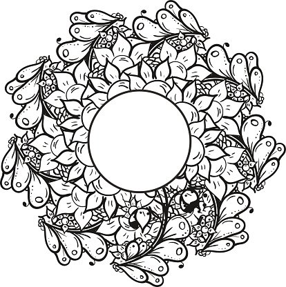 Abstract floral doodle background pattern. A circular ornament.