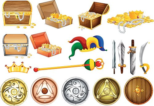 Treassure chest and weapons