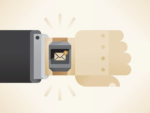 Businessman hand with smart watch with unread e-mail message