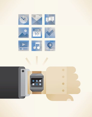 Businessman hand with smart watch and icons symbols menu