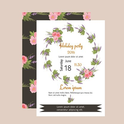 Floral peony and lavender retro vintage background