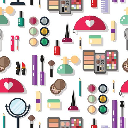 Seamless background with cosmetics flat icons. Pattern make up objects.
