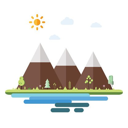 Landscapes by the sea in flat style