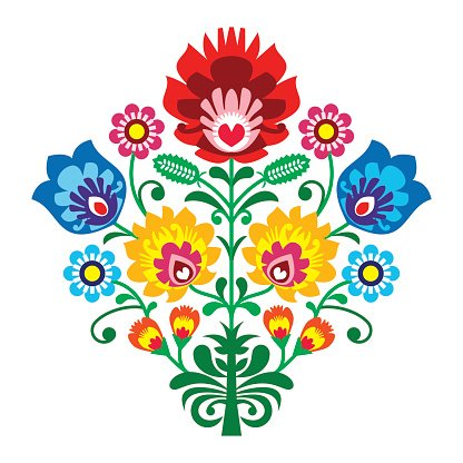 Polish Folk art embroidery with flowers - traditional pattern