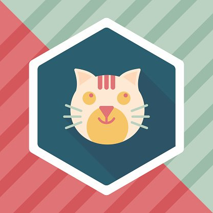 Pet cat flat icon with long shadow,eps10