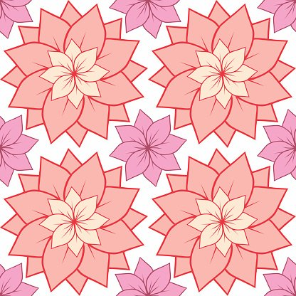 Seamless texture with pink lotus flowers.