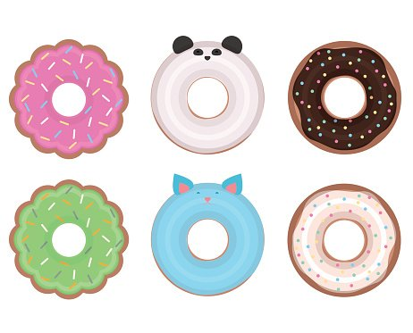 Set of different vector donuts.