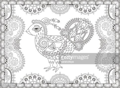 line art cock drawing for coloring book page joy to
