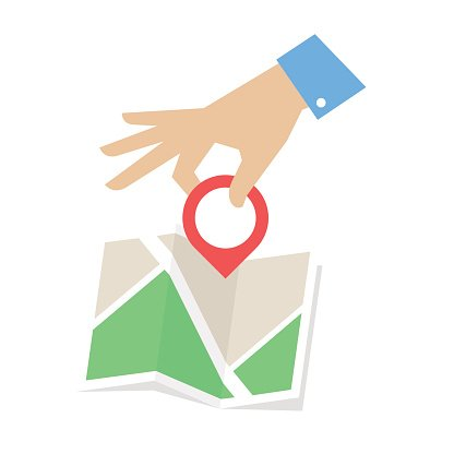 Flat vector illustration of map and hand with Location pointer