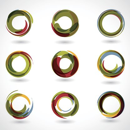 set of Abstract Colorful ring icon