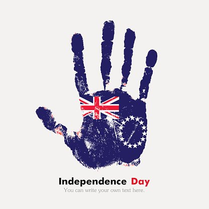 Handprint with the Flag of Cook Islands in grunge style