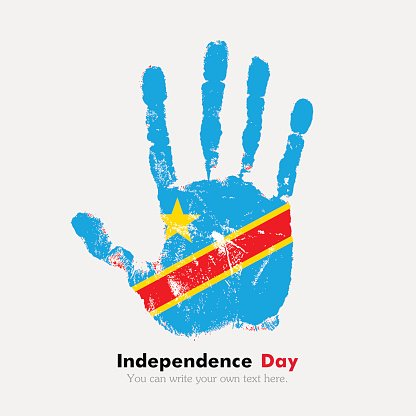 Handprint with the Flag of Democratic Republic Congo in grunge