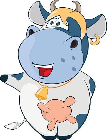 Illustration of Cute Cow. Cartoon Character