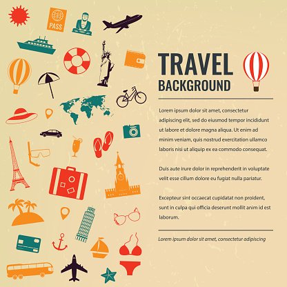 Travel and tourism concept. Travel background. Vector