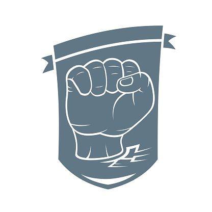 Clenched fist held high in protest. Vector Illustration (label, stamp).