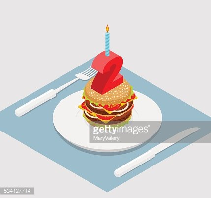 Birthday 2 years Burger. hamburger and candle isometrics. Number