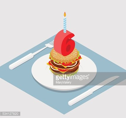 6 years birthday burger. Number six with candle. Burger annivers