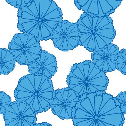 Blue anemones on a white background, seamless pattern