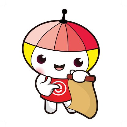 The Energy Fairy mascot holding a parchment paper.