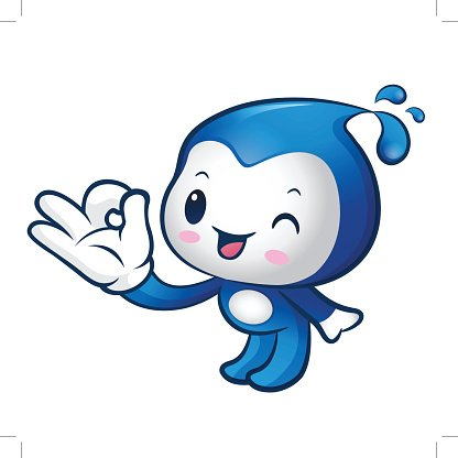 Water sprite Mascot the OK gesture. Home and Family