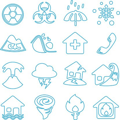 Icon disasters. Flat design. Line art