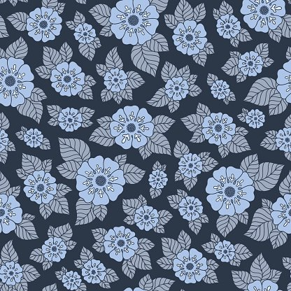 Hand drawn flowers and leaves seamless pattern.